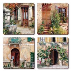 "Cala Home Podkładki korkowe małe, pod kubek C11451 ""Tuscan Doorways"""