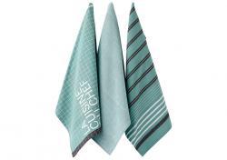 Ladelle La Cuisine wzór Zielone komplet trzech ręczników kuchennych L32223