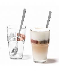 Zestaw 2 szklanek z łyżeczkami Latte Solo - Leonardo