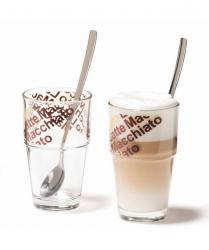 Zestaw 2szklanek z łyżeczkami do Latte Solo - Leonardo