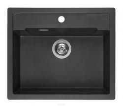 Zestaw REGINOX - zlewozmywak Amsterdam 54 black silvery + bateria Spring Stainless Steel