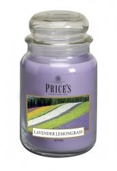 Price's Candles zapachowa świeca w dużym słoiku - LAVENDER & LEMONGRAS