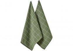 Ladelle Eco Check komplet 2 ręczników kuchennych 45/70 cm Green L33337