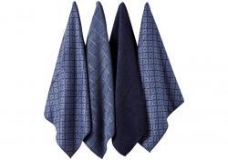 Ladelle Carver Navy komplet 4 ręczników kuchennych z mikrofibry L33203