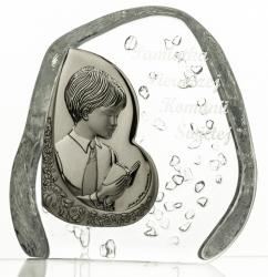 Skałka przycisk kryształowy z chłopcem Komunia Święta 7302